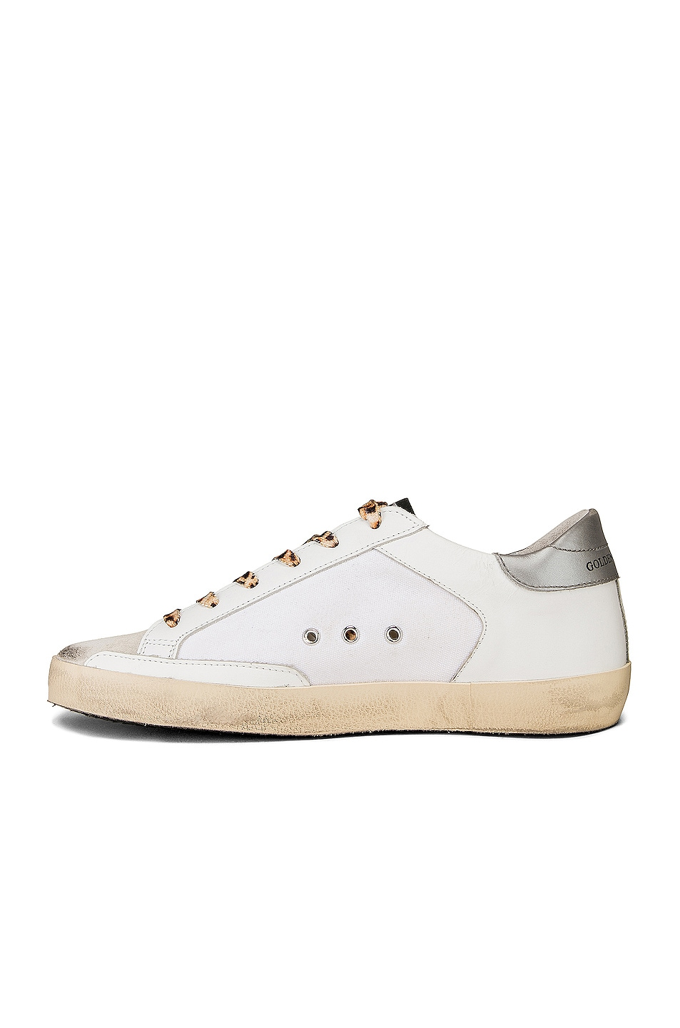 Image 5 of Golden Goose Leopard Lace Superstar Sneakers in White Canvas & Fluorescent