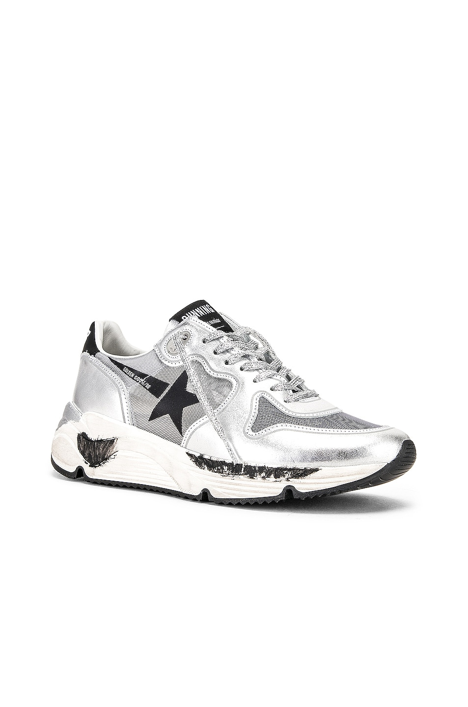 Image 2 of Golden Goose Running Sole Sneakers in Silver Net & Black Star