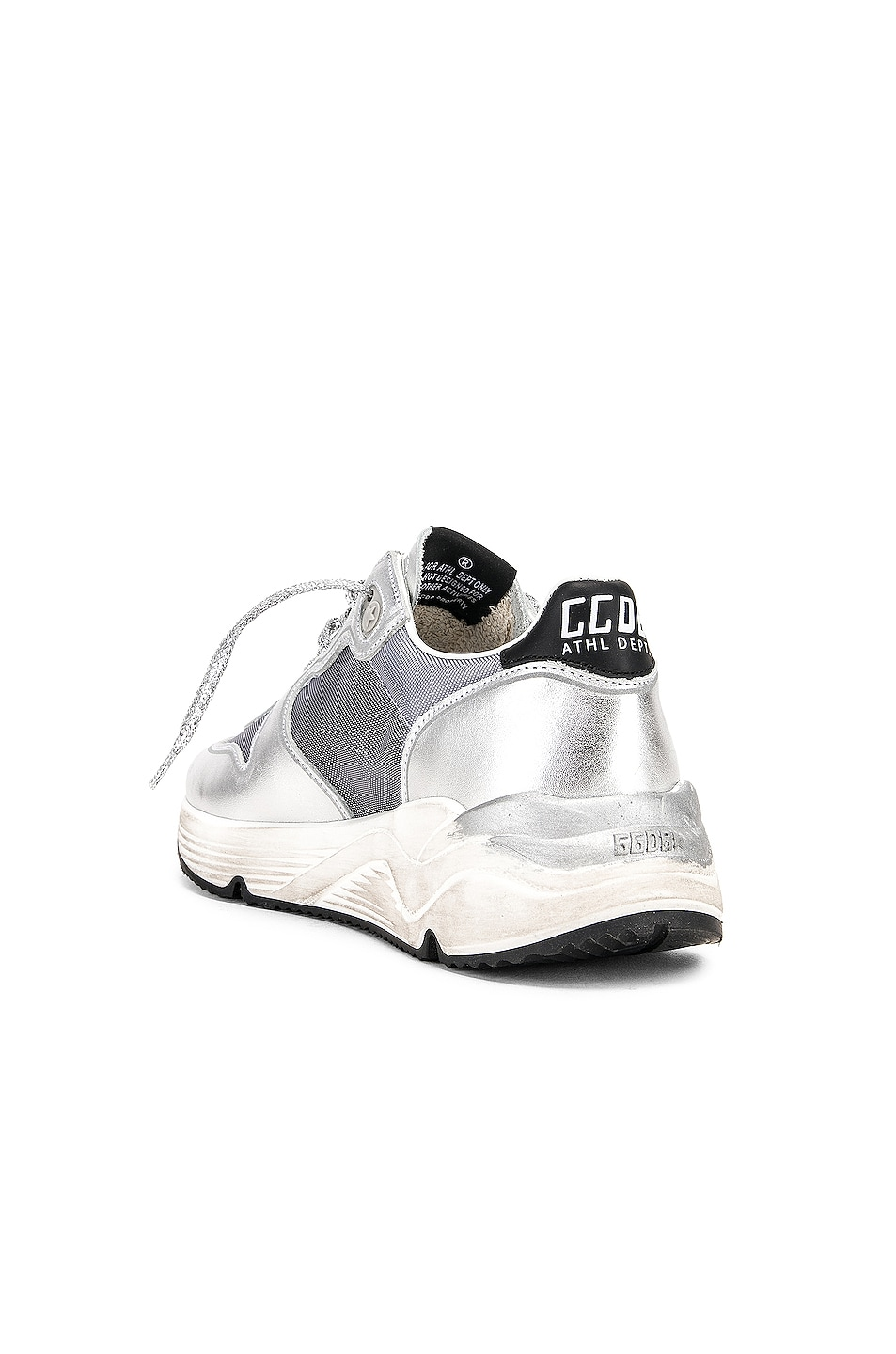 Image 3 of Golden Goose Running Sole Sneakers in Silver Net & Black Star