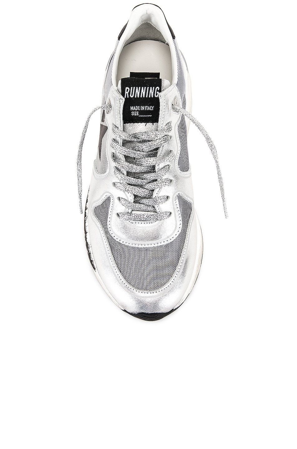 Image 4 of Golden Goose Running Sole Sneakers in Silver Net & Black Star