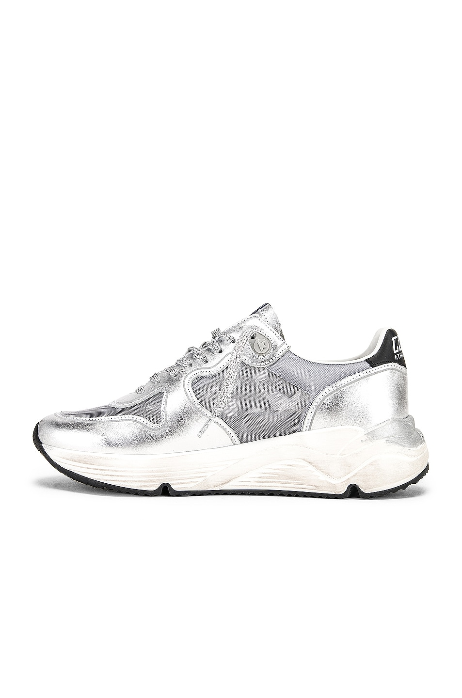 Image 5 of Golden Goose Running Sole Sneakers in Silver Net & Black Star