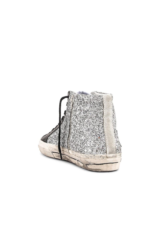 Image 3 of Golden Goose Slide Sneakers in Silver Glitter & Black Star