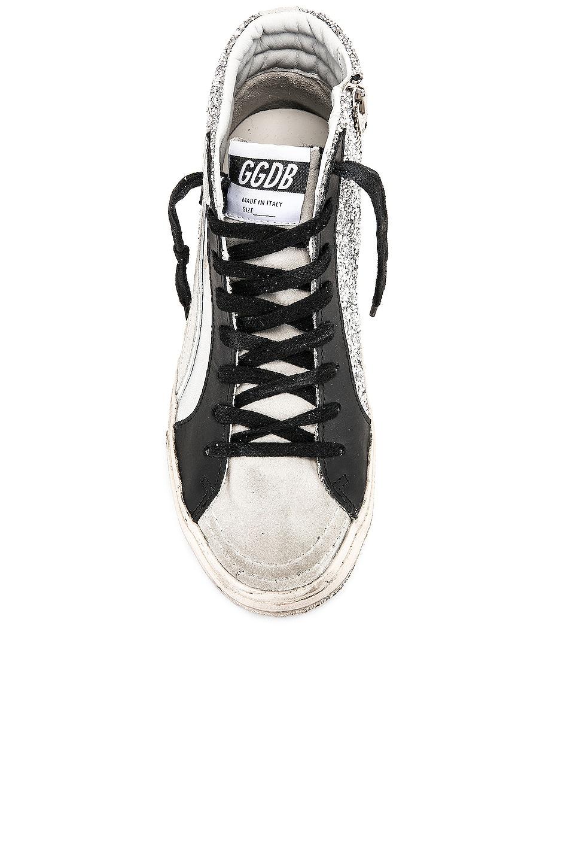 Image 4 of Golden Goose Slide Sneakers in Silver Glitter & Black Star