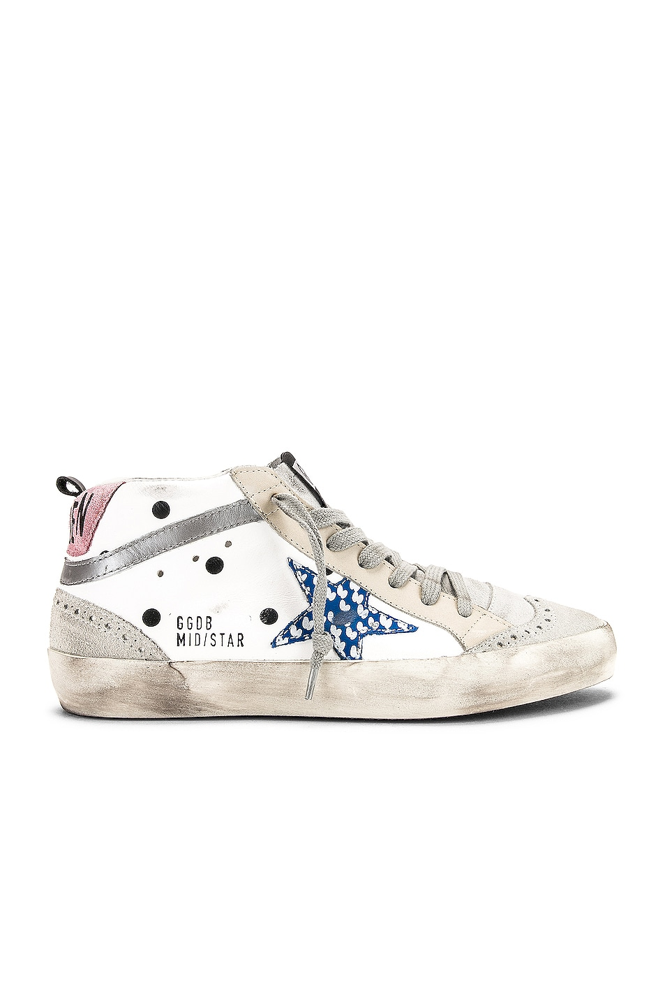 Image 1 of Golden Goose Mid Star Sneakers in White Dot