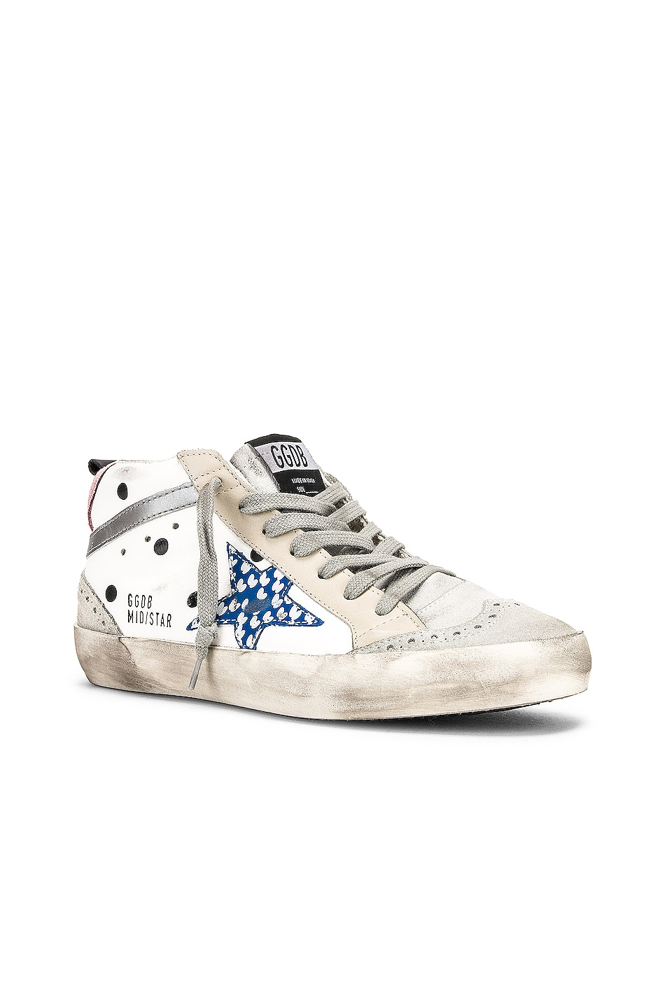 Image 2 of Golden Goose Mid Star Sneakers in White Dot