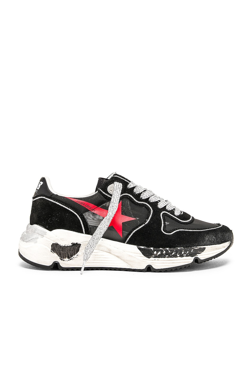 Image 1 of Golden Goose Running Sole Sneakers in Black & Red Star