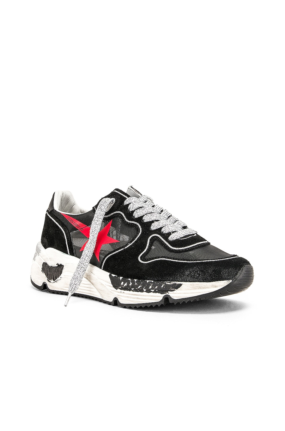 Image 2 of Golden Goose Running Sole Sneakers in Black & Red Star