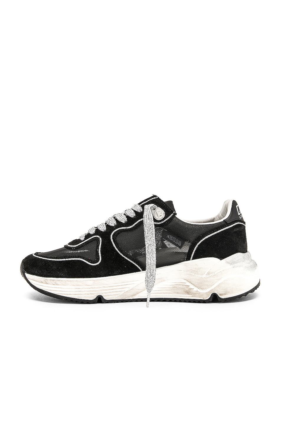 Image 5 of Golden Goose Running Sole Sneakers in Black & Red Star