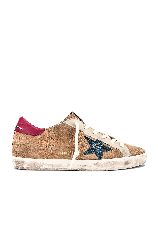 Image 1 of Golden Goose Superstar Sneaker in Desert Suede & Blue Glitter