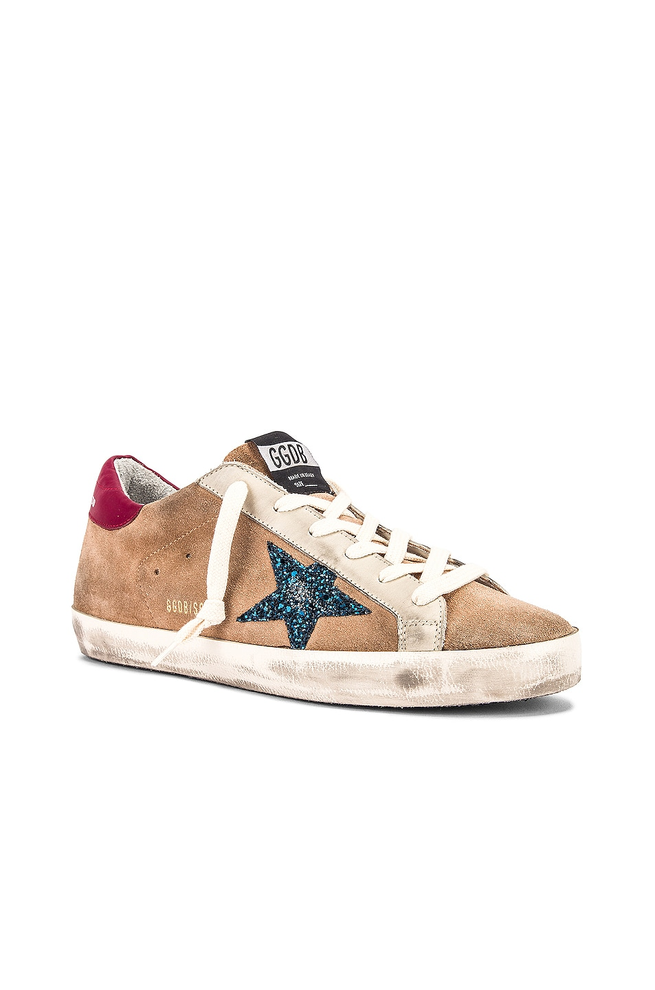 Image 2 of Golden Goose Superstar Sneaker in Desert Suede & Blue Glitter