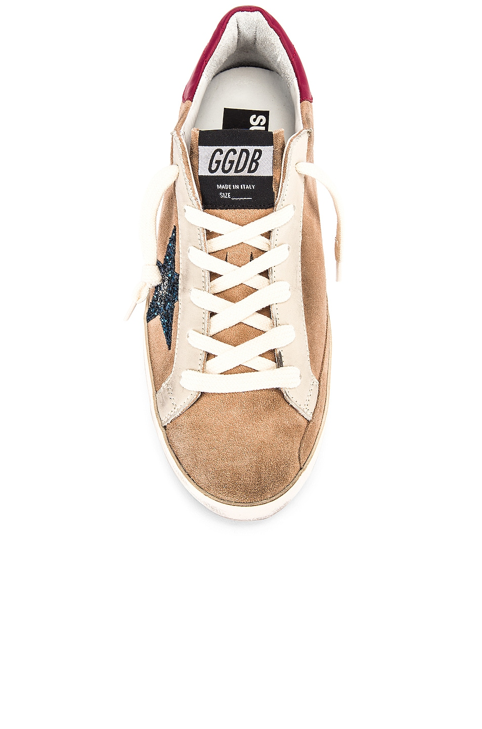 Image 4 of Golden Goose Superstar Sneaker in Desert Suede & Blue Glitter