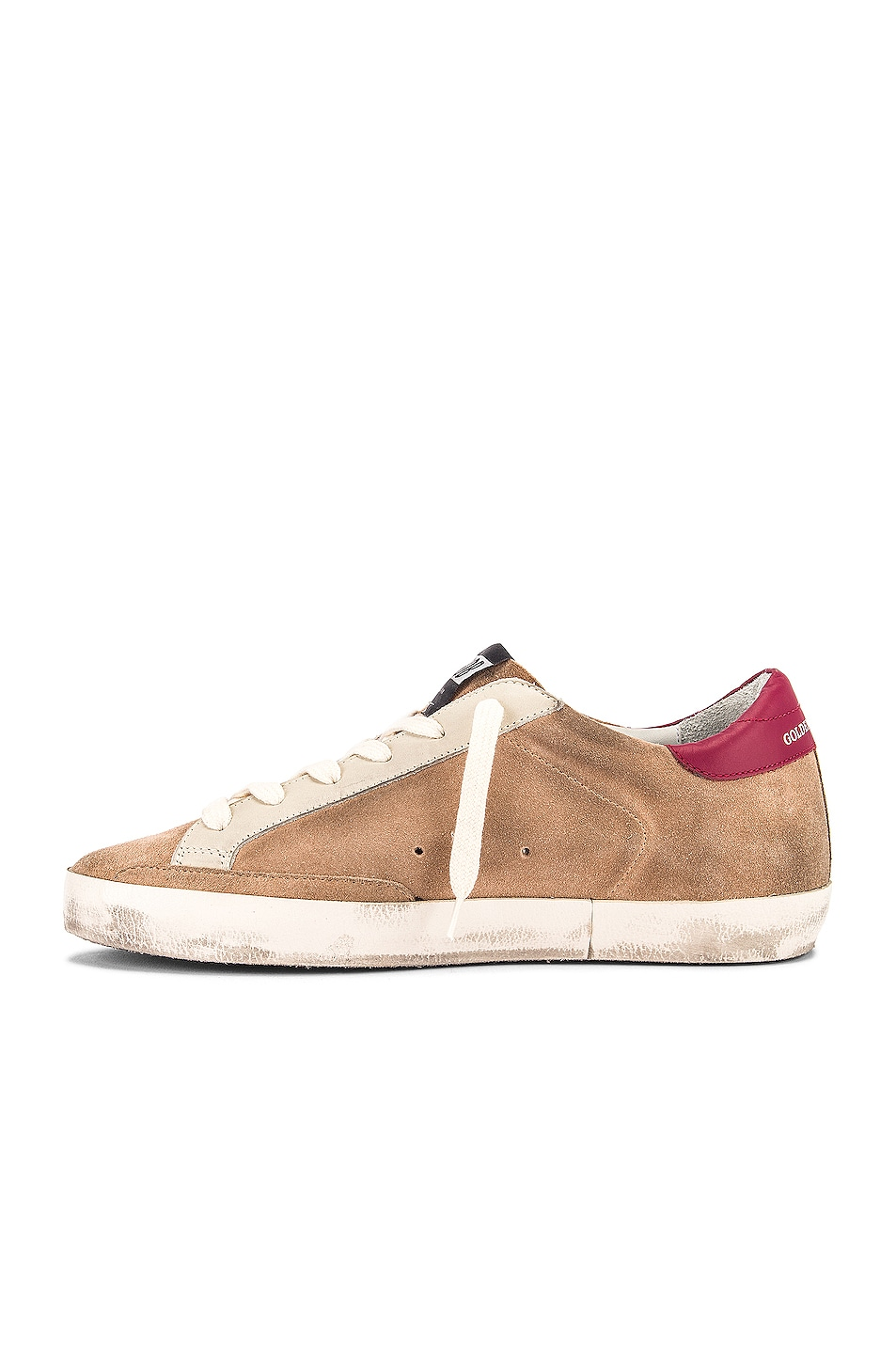 Image 5 of Golden Goose Superstar Sneaker in Desert Suede & Blue Glitter