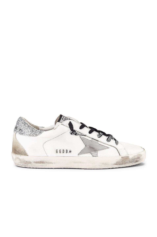 Image 1 of Golden Goose Superstar Sneaker in White & Silver Glitter