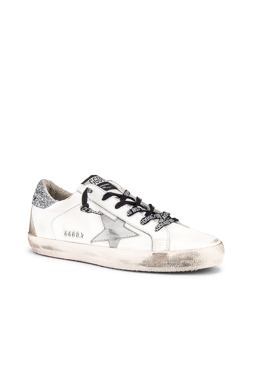 Image 2 of Golden Goose Superstar Sneaker in White & Silver Glitter