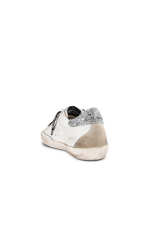 Image 3 of Golden Goose Superstar Sneaker in White & Silver Glitter