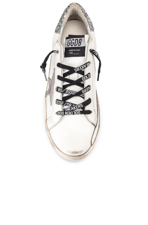 Image 4 of Golden Goose Superstar Sneaker in White & Silver Glitter