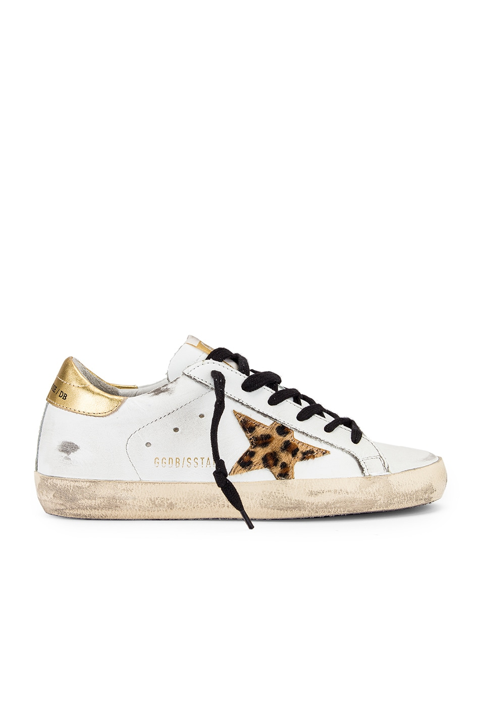 Image 1 of Golden Goose Superstar Sneaker in White Leather & Gold Leopard