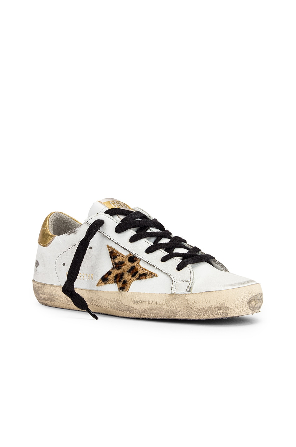 Image 2 of Golden Goose Superstar Sneaker in White Leather, Gold & Leopard