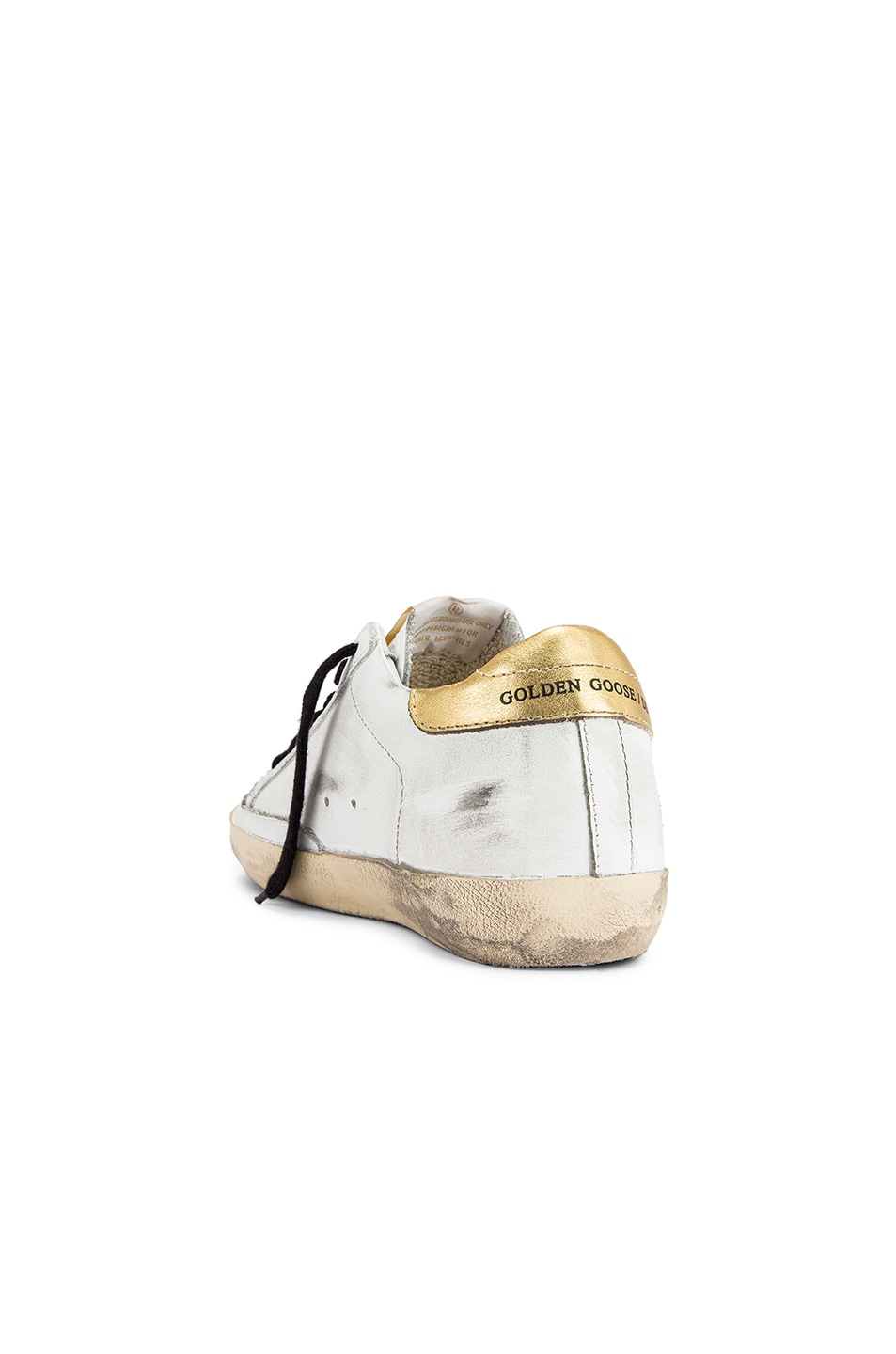 Image 3 of Golden Goose Superstar Sneaker in White Leather & Gold Leopard
