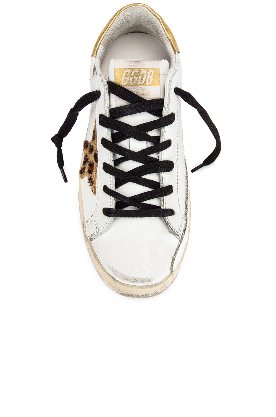 Image 4 of Golden Goose Superstar Sneaker in White Leather & Gold Leopard