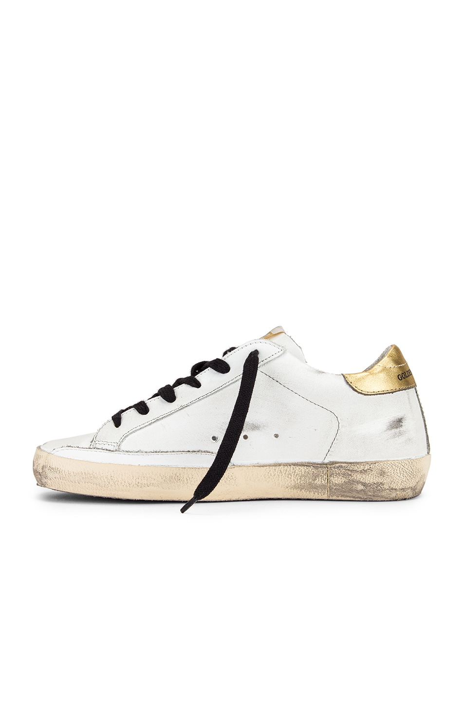 Image 5 of Golden Goose Superstar Sneaker in White Leather & Gold Leopard