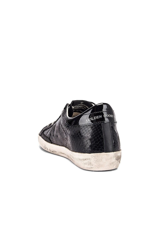 Image 3 of Golden Goose Superstar Sneaker in Black Snake Leather & Black