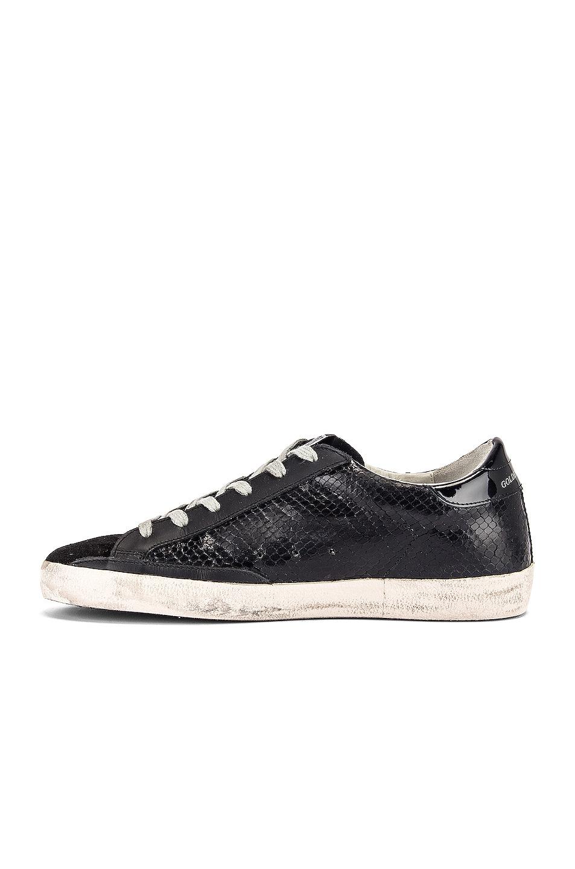 Image 5 of Golden Goose Superstar Sneaker in Black Snake Leather & Black