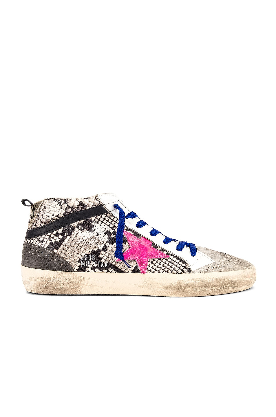 Image 1 of Golden Goose Mid Star Sneaker in Rock Snake & Fuchsia