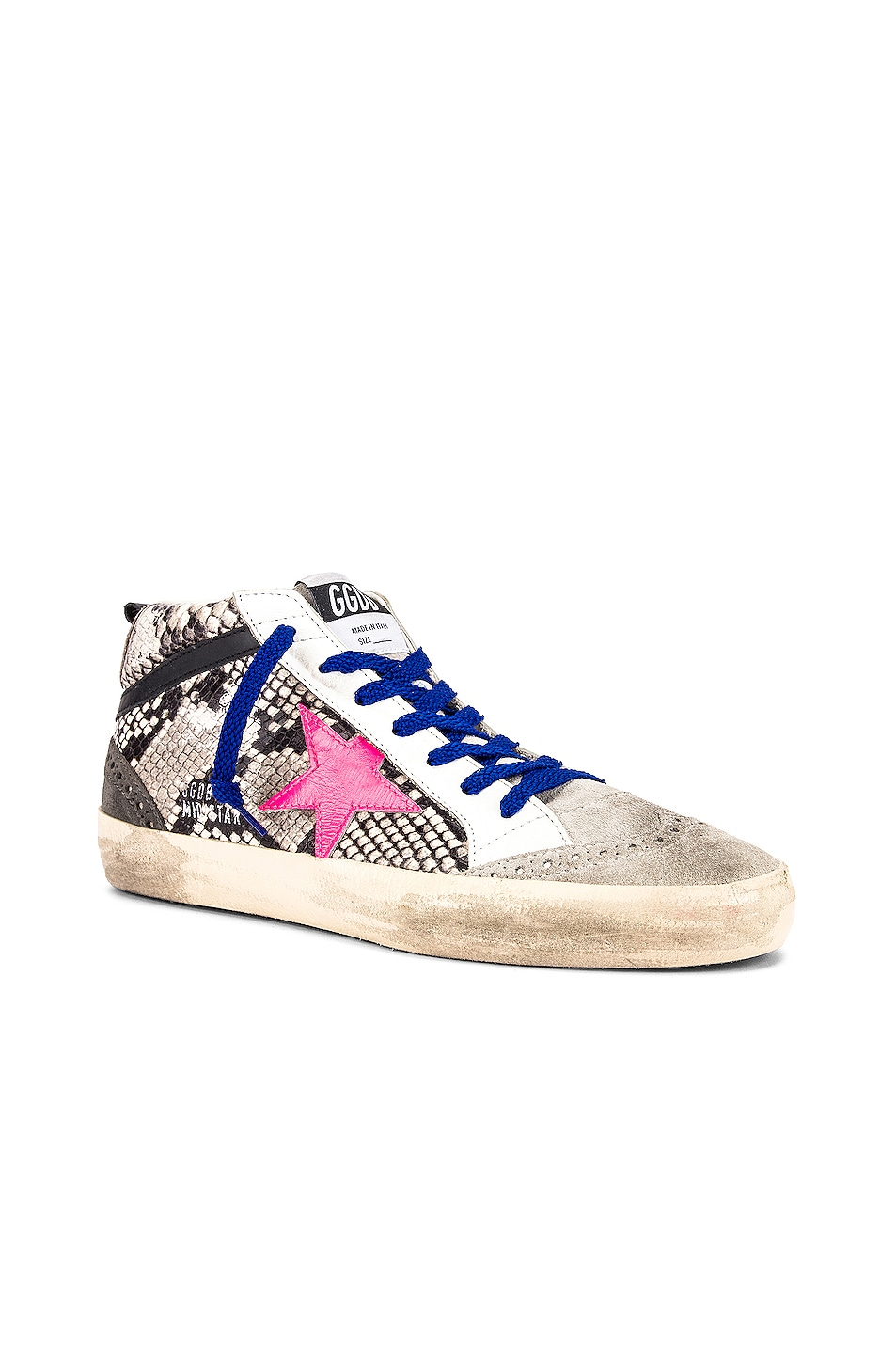 Image 2 of Golden Goose Mid Star Sneaker in Rock Snake & Fuchsia