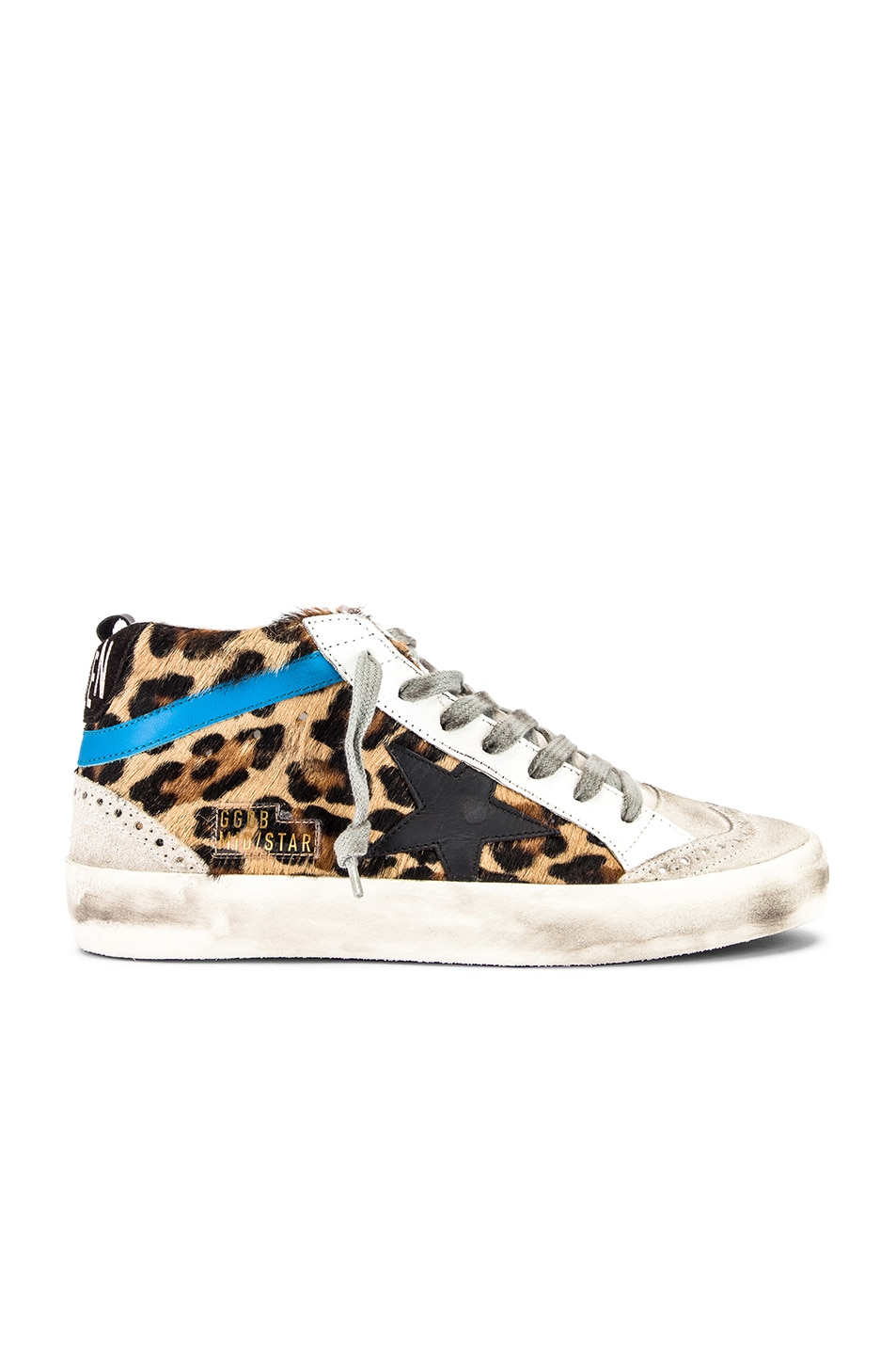 Image 1 of Golden Goose Mid Star Sneaker in Leopard Pony & Black