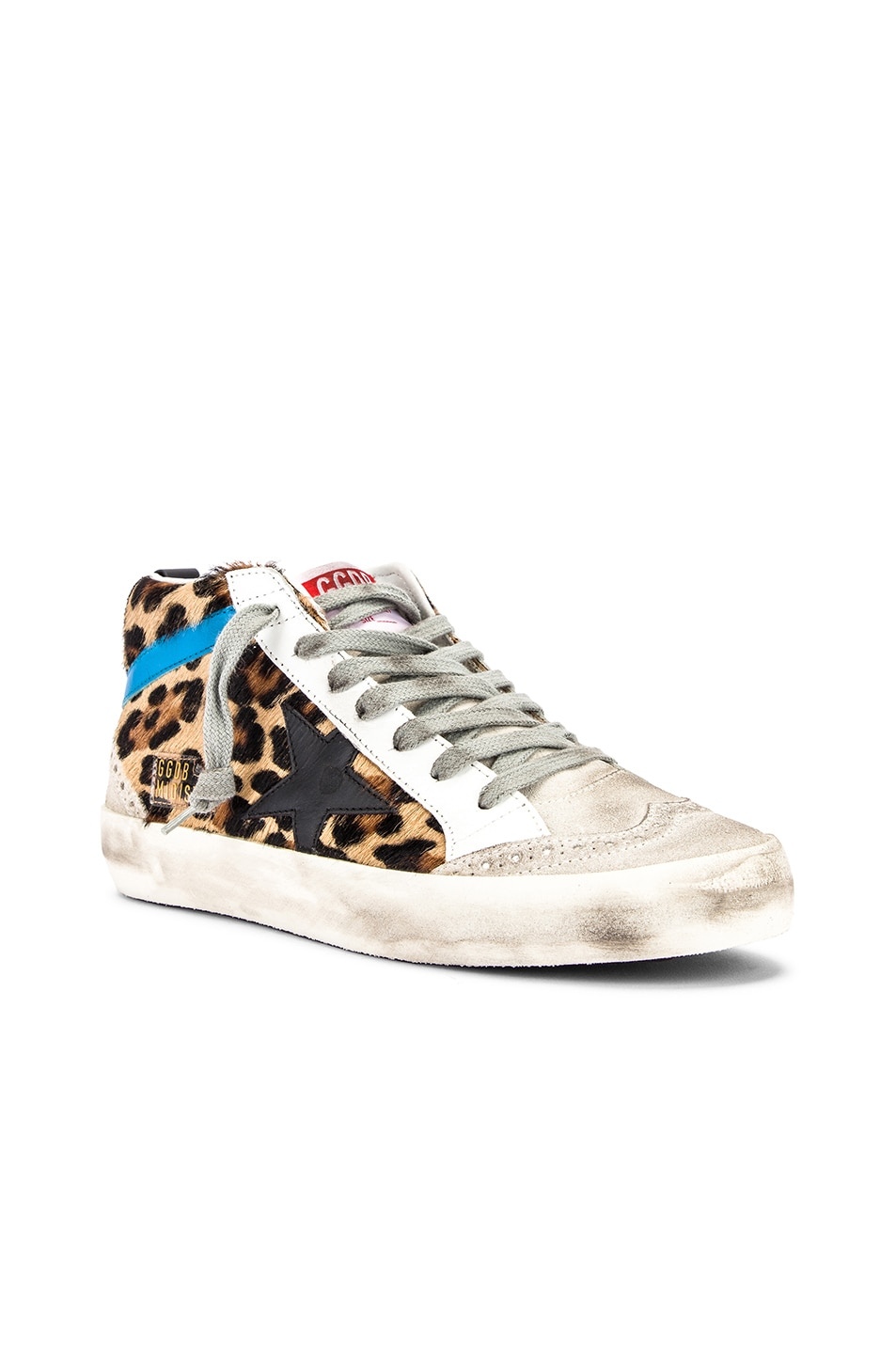 Image 2 of Golden Goose Mid Star Sneaker in Leopard Pony & Black