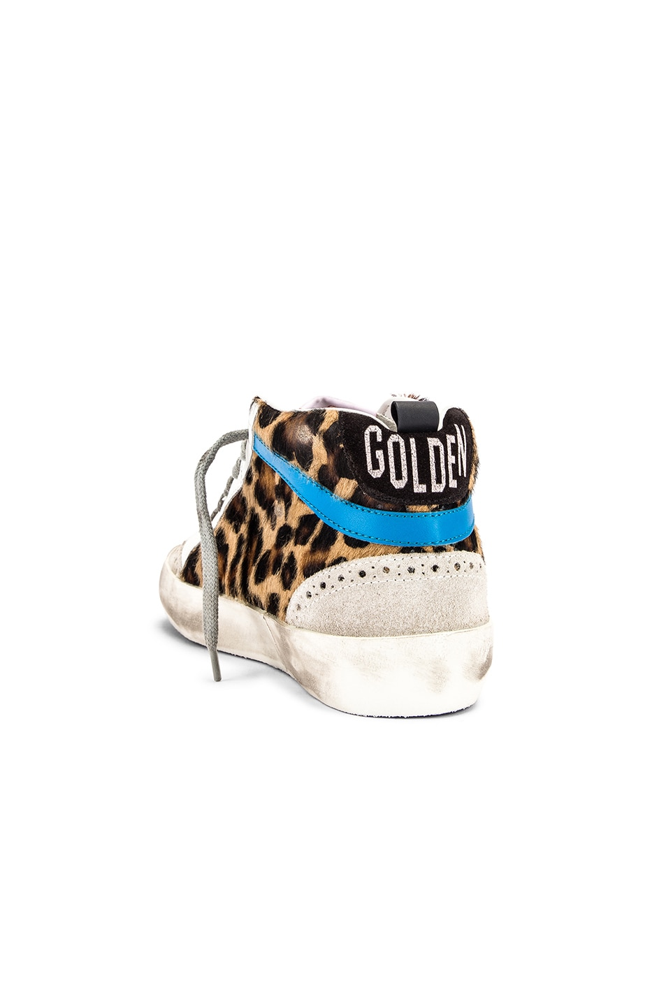 Image 3 of Golden Goose Mid Star Sneaker in Leopard Pony & Black