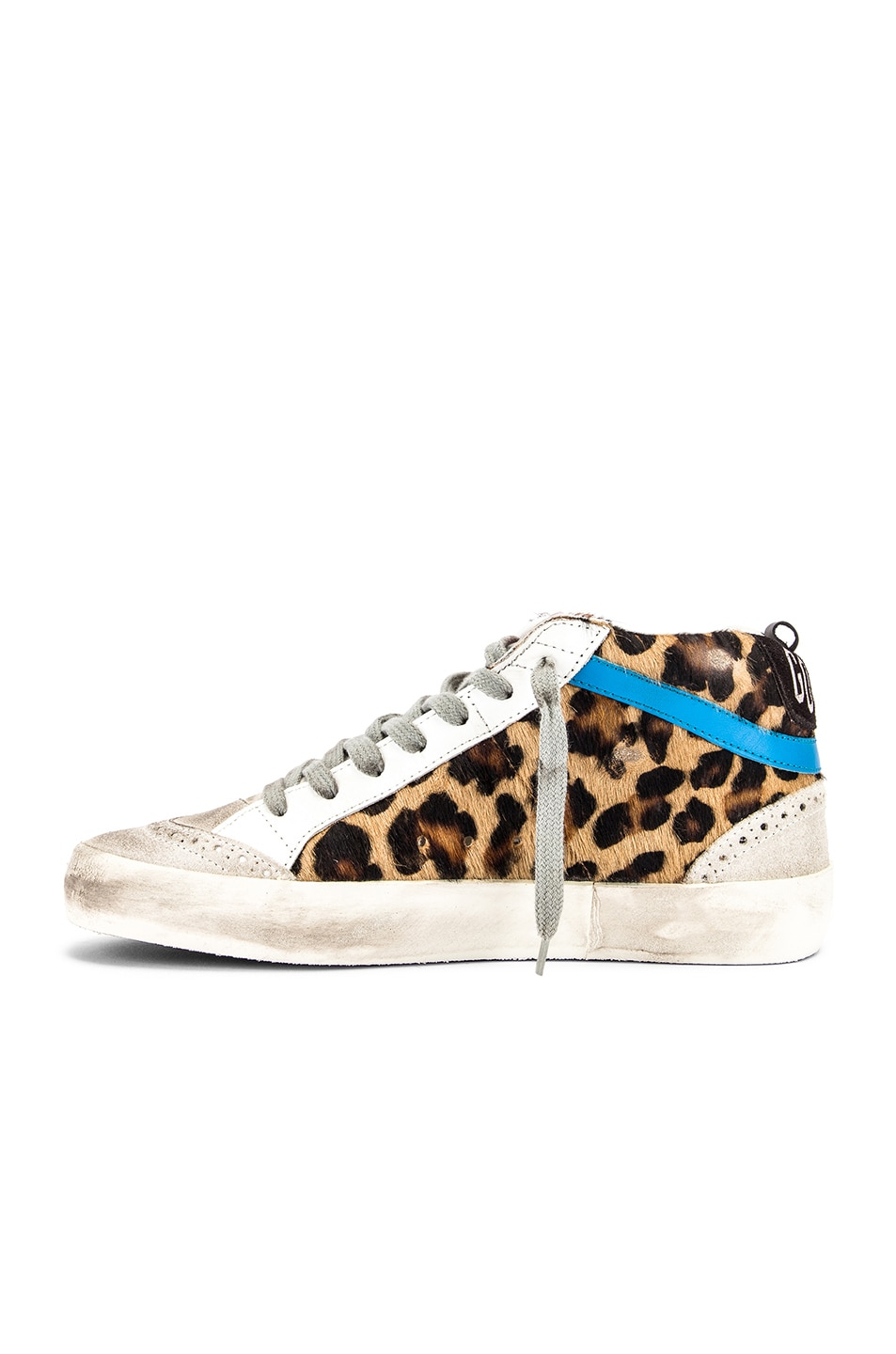 Image 5 of Golden Goose Mid Star Sneaker in Leopard Pony & Black