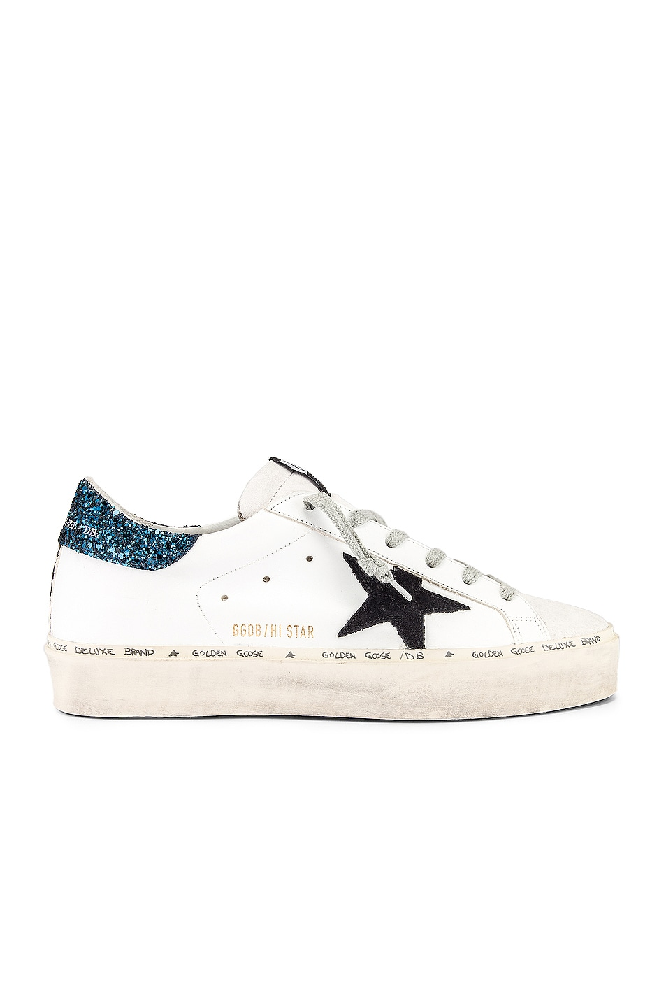 Image 1 of Golden Goose Hi Star Sneaker in White, Black & Blue Glitter