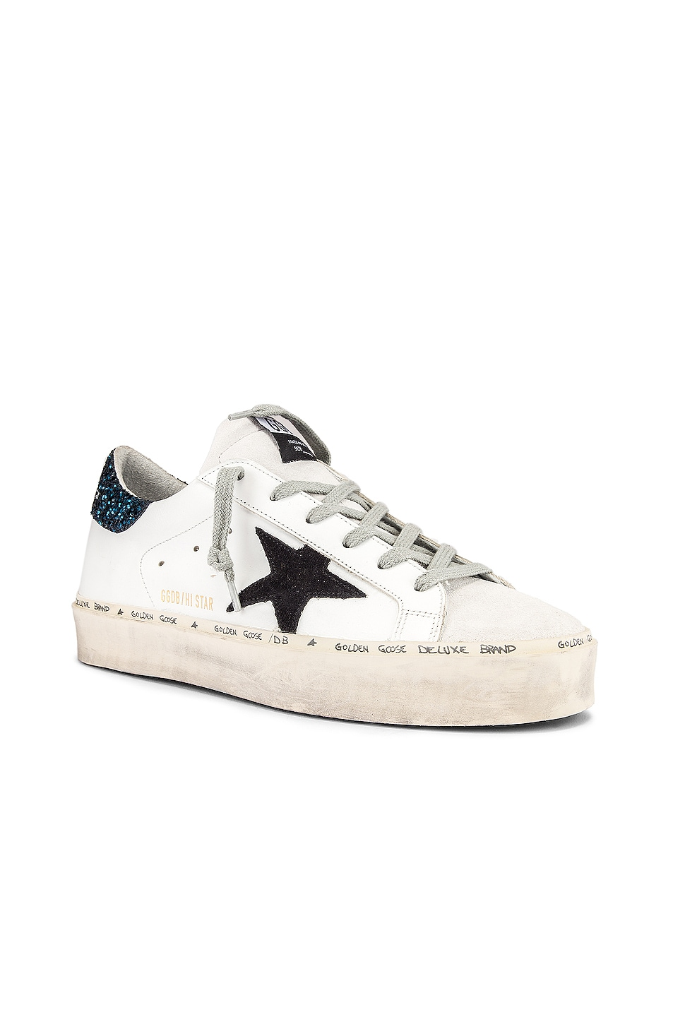 Image 2 of Golden Goose Hi Star Sneaker in White, Black & Blue Glitter
