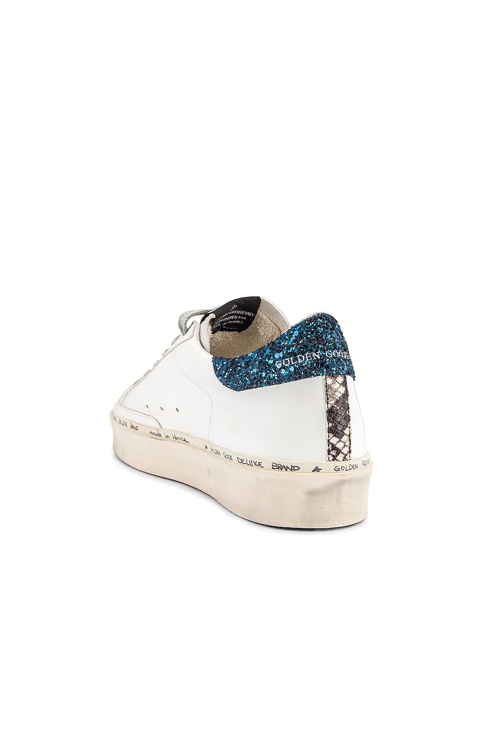 Image 3 of Golden Goose Hi Star Sneaker in White, Black & Blue Glitter
