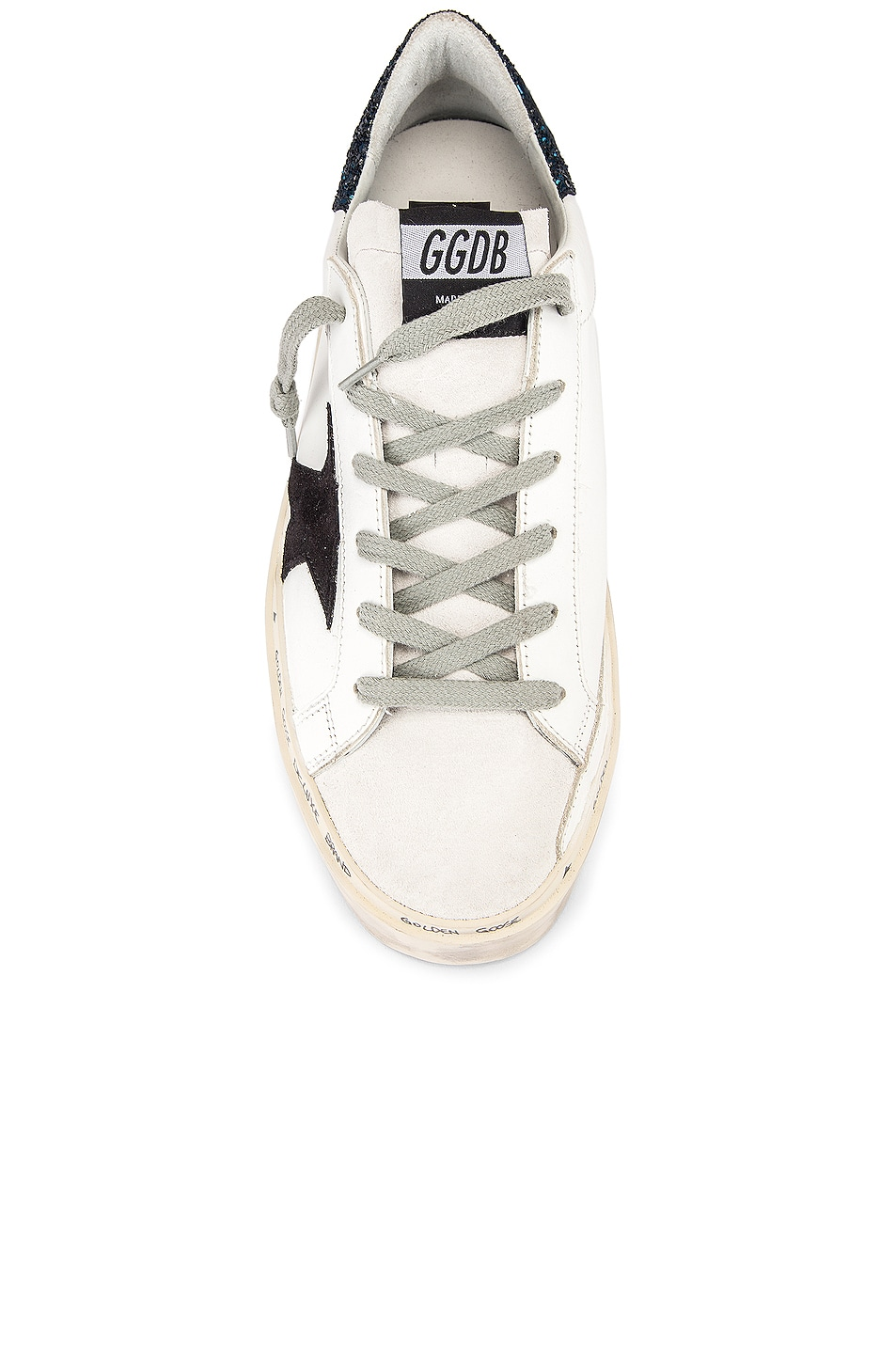 Image 4 of Golden Goose Hi Star Sneaker in White, Black & Blue Glitter