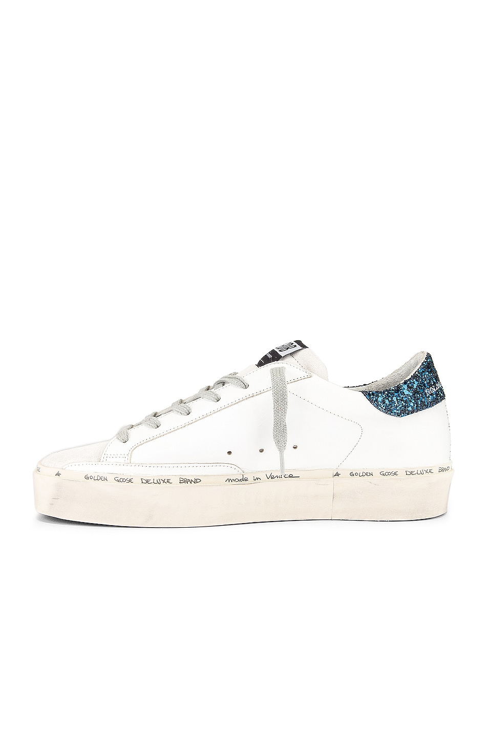 Image 5 of Golden Goose Hi Star Sneaker in White, Black & Blue Glitter