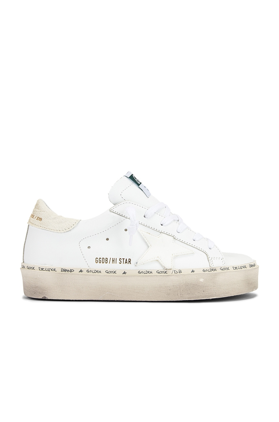 Image 1 of Golden Goose Hi Star Sneaker in White Leather & Carved