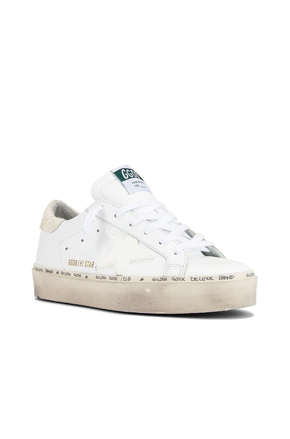 Image 2 of Golden Goose Hi Star Sneaker in White Leather & Carved