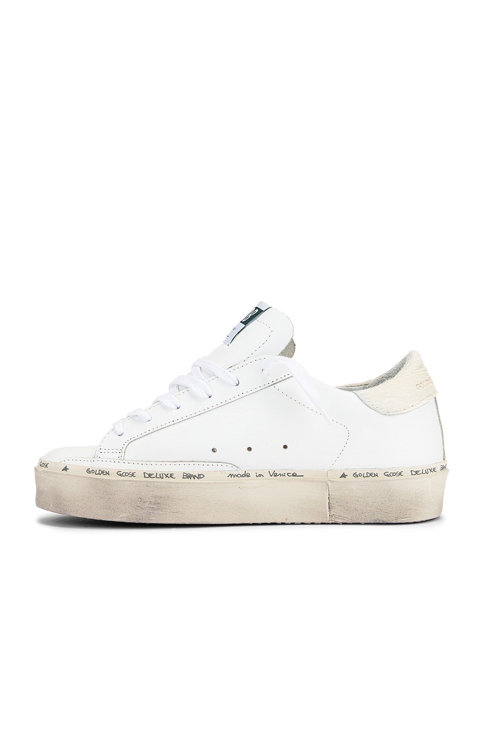 Image 5 of Golden Goose Hi Star Sneaker in White Leather & Carved