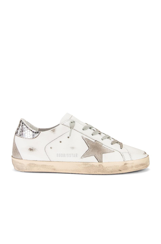 Image 1 of Golden Goose Superstar Sneaker in White, Silver & Cream