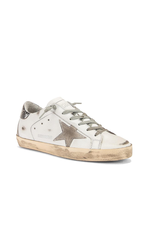 Image 2 of Golden Goose Superstar Sneaker in White, Silver & Cream