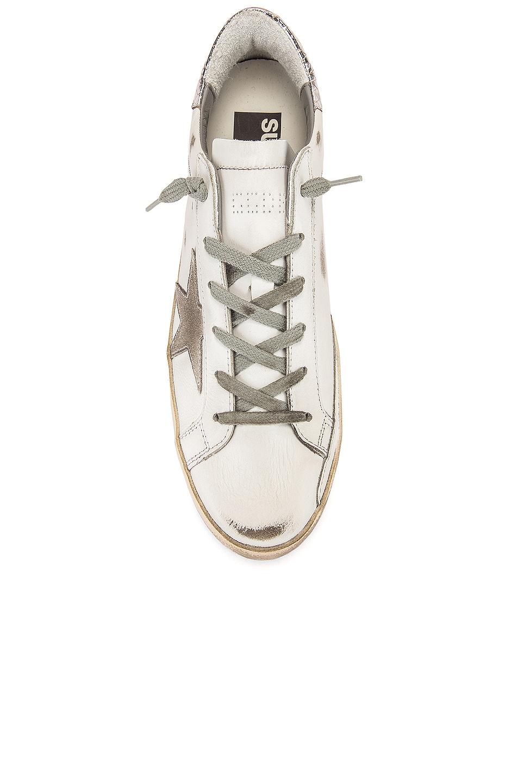 Image 4 of Golden Goose Superstar Sneaker in White, Silver & Cream