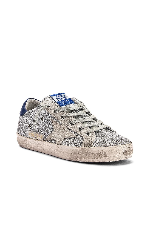 Image 2 of Golden Goose Superstar Sneaker in Silver Glitter Blue