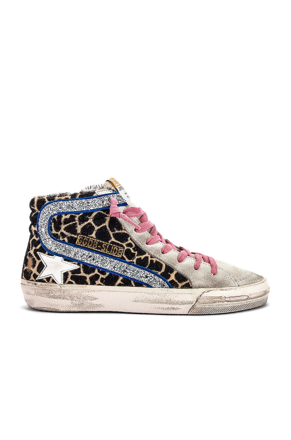 Image 1 of Golden Goose Slide Sneaker in Animalier & Silver Glitter