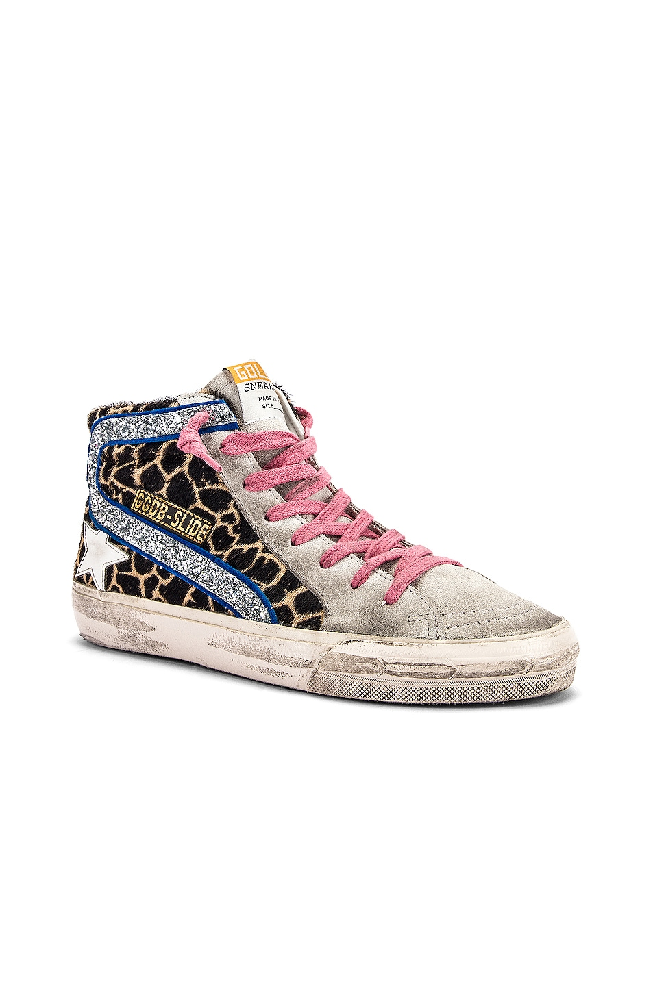 Image 2 of Golden Goose Slide Sneaker in Animalier & Silver Glitter