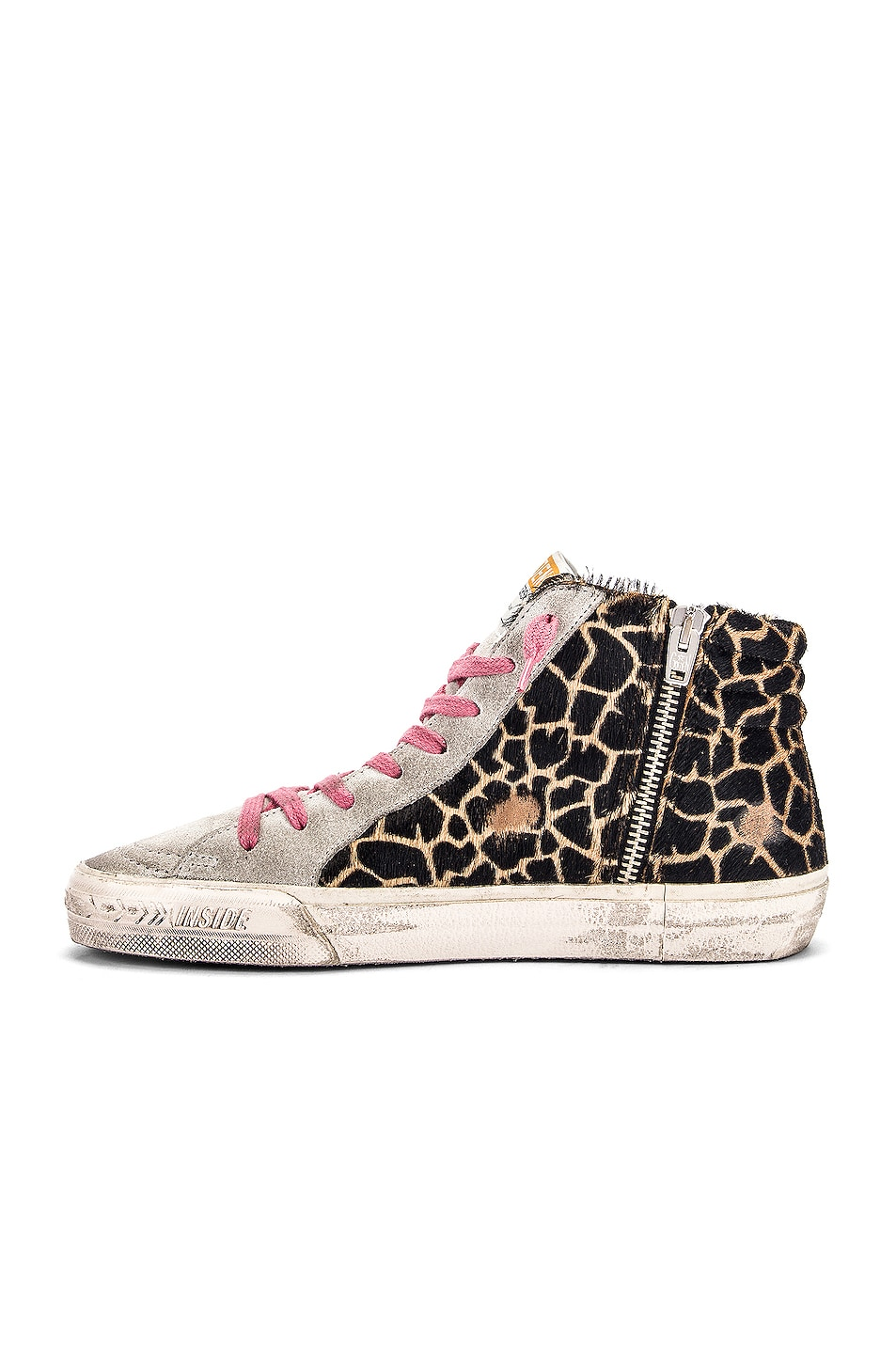 Image 5 of Golden Goose Slide Sneaker in Animalier & Silver Glitter