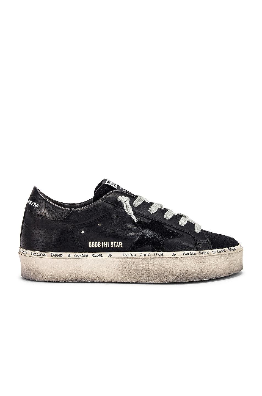 Image 1 of Golden Goose Leather Hi Star Sneaker in Black
