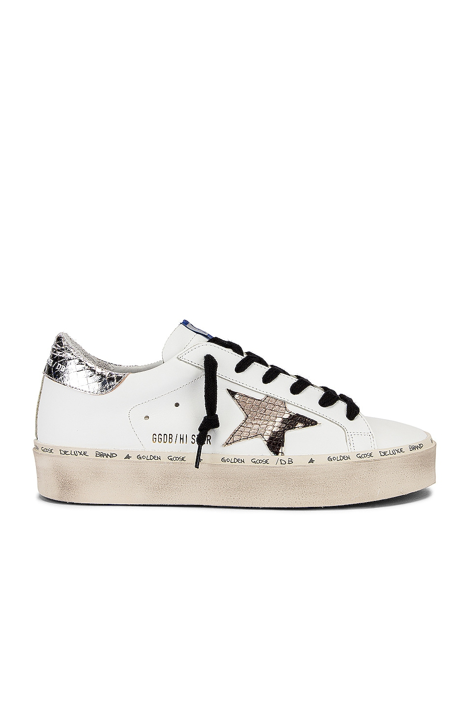 Image 1 of Golden Goose Hi Star Sneaker in White & Natural Snake